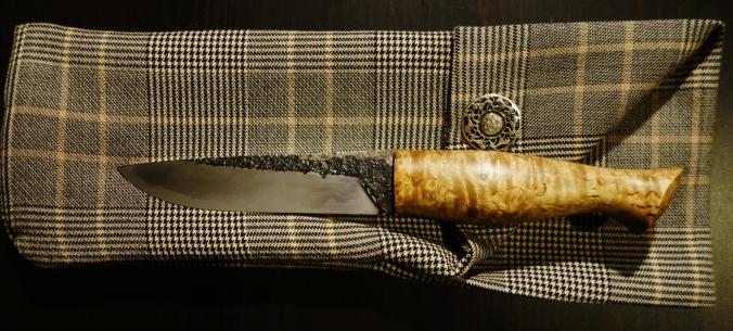 Couteau bushcraft de 240mm, manche en bouleau madré_Forges de Midgard_1